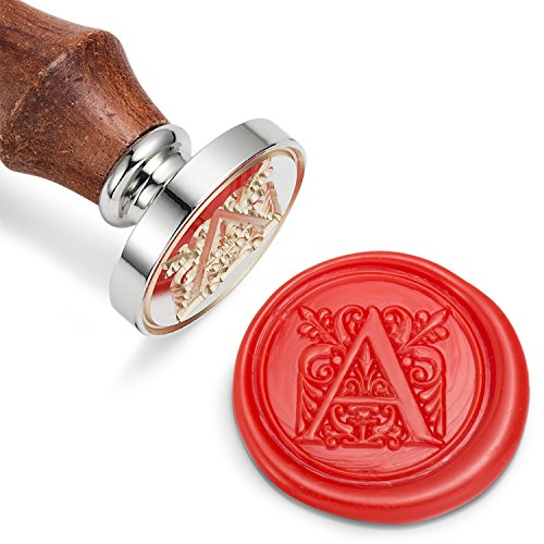 Mceal Wax Seal Stamp, Silver Brass Head with Wooden Handle, Regal Letter ()