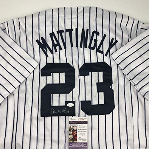 Yankee Framed Mini - Autographed/Signed Don Mattingly New York Yankees Pinstripe Baseball Jersey JSA COA