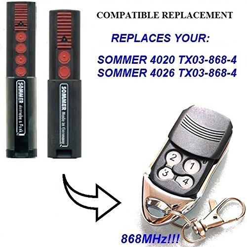 SOMMER 4026, SOMMER 4020 Compatible Télécommande, 4 canaux 868,8Mhz remplacement de haute qualité pour LE MEILLEUR PRIX. (NOT MADE BY Sommer) SOMMER 4020 Compatible Télécommande Sommer Remote Control Replacement
