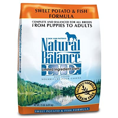 Natural Balance Dry Dog Food, Grain Free Limited Ingredient Diet Fish And Sweet Potato Recipe, 15 Pound Bag