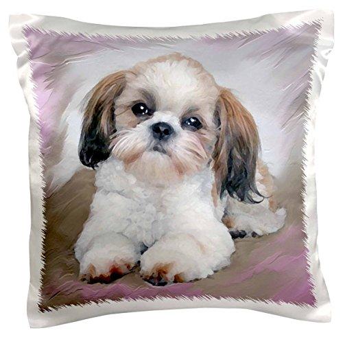 3dRose pc_4807_1 Shih Tzu Puppy-Pillow Case, 16 by 16
