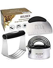 HULISEN Professional Pastry Cutter Set, Stainless Steel Pastry Scraper + Dough Blender + Biscuit Cutter Set, Heavy Duty & Durable with Ergonomic Rubber Grip, Baking Dough Tools, Gift Package