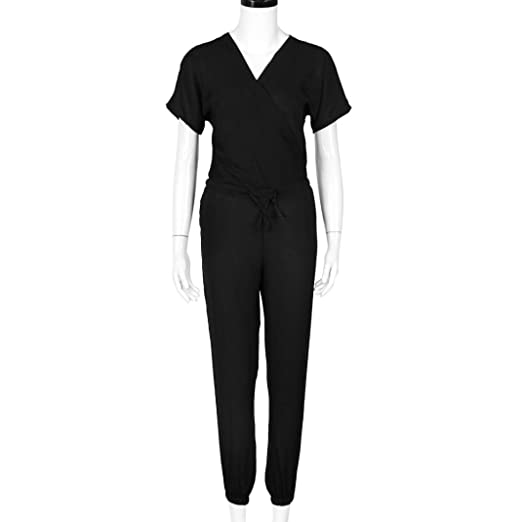 9412ac94418 Bravetoshop Casual Solid Color Drawstring Jumpsuits Half Sleeve V Neck  Playsuits (Black