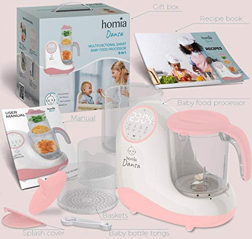 51jAzb5g86L. AC - Baby Food Maker Chopper Grinder - Mills And Steamer 8 In 1 Processor For Toddlers - Steam, Blend, Chop, Disinfect, Clean, 20 Oz Tritan Stirring Cup, Touch Control Panel, Auto Shut-Off, 110V Only