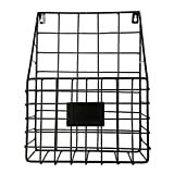 Labu Store Modern Simple Iron Wire Magazine Newspaper Basket Kitchen Non-Punch Rack Wall Mounted Post Storage Rack Organizer