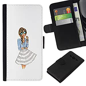 KingStore / Leather Etui en cuir / Samsung Galaxy A3 / Fille femme blanche Lunettes
