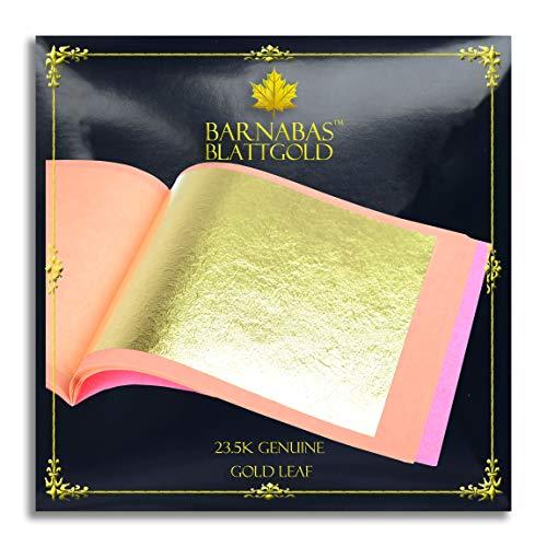 (Genuine Gold Leaf Sheets 23.5k - by Barnabas Blattgold - 3.1 inches - 25 Sheets Booklet - Loose Leaf)