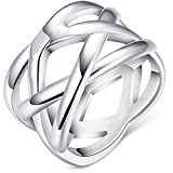 "BOHG Jewelry Womens 925 Sterling Silver Plated Fashion Double ""X"" Criss Cross Eternity Ring Wedding Band"
