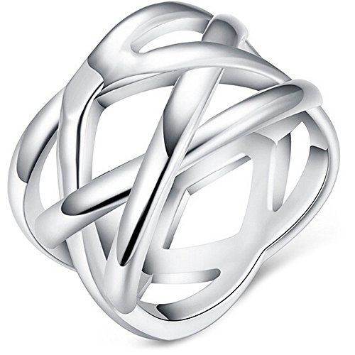 Braided Wide Band Wedding Ring - BOHG Jewelry Womens 925 Sterling Silver Plated Fashion Double