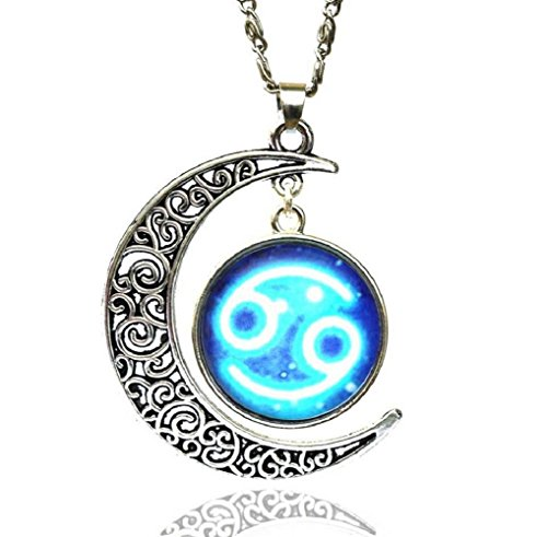 Yuriao Jewelry Star Moon Time Gemstone Constellation Cancer Pendant Necklace