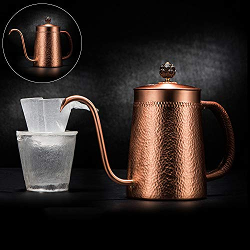 JunHenglr Stainless Steel Coffee Pot, Household Copper Anti-Scalding Handle Coffee Drip Kettle Cup Teapot Container Bronze by JunHenglr (Image #4)