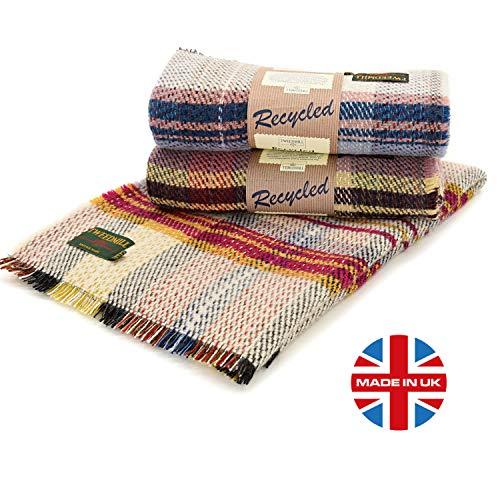 Tweedmill Eco Friendly All Wool Picnic Throw Blanket Rug, Repurposed Recycled from Unused Wool in Manufacturing, 48