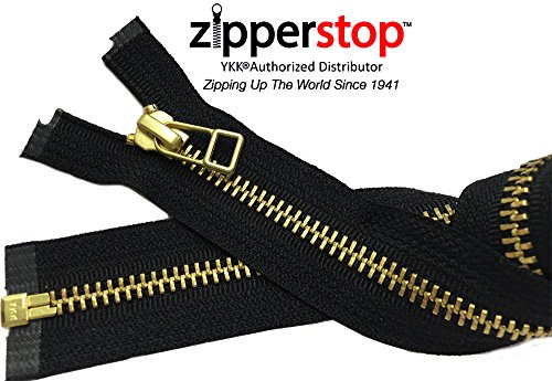 ZipperStop Wholesale YKK - Jacket Zipper Brass Finished (Custom Length) YKK#5 Medium Weight with Fancy Bell Pull Slider Separating Color BLACK Made in USA (48 Inches) 5 Non Separating Zipper