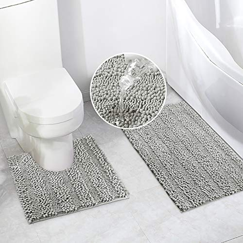 Bathroom Rugs Bath Mat Set for Bathroom 2 Piece 20 x 20 U Shape Contour Bath Rug & 20 x 32 Bathroom Rug Mats Toilet…