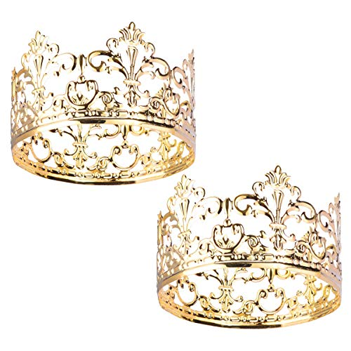 Hemoton 2pcs Tiara Crown Cake Topper Vintage Gold Cake Crown Topper Hair Ornaments Wedding/Birthday Cake Decoration For King, Queen, Prince And Princess Party(3.93x 2.28 Inch/Gold) (Ornament Crown)