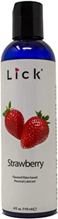 Lick Strawberry Flavored Lick Water-Based for Sex, 4 oz - Edible Lubricant for Sex with All Natural Organic Ingredients - Safe Use with Condoms and Toys