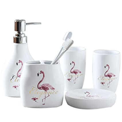 . Amazon com  5 Piece Ceramic Bath Accessory Set Includes Bathroom