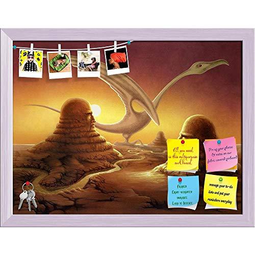 Artzfolio Surreal Scene of Stone Sculptures in A Desert Printed Bulletin Board Notice Pin Board | White Frame 20.8 X 16Inch