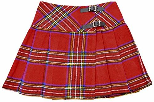 Girls Traditional Pleat Skirt - Ladies Royal Stewart Tartan Mini Billie Kilt Skirt Size: 20