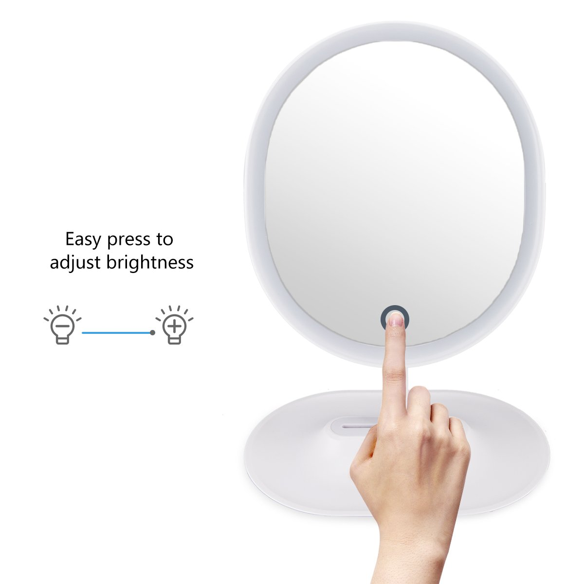LED lighted Vanity Makeup Mirror Oval Shaped with Touch Screen, Desktop vanity Mirror,with one Detachable 5X magnifying mirror