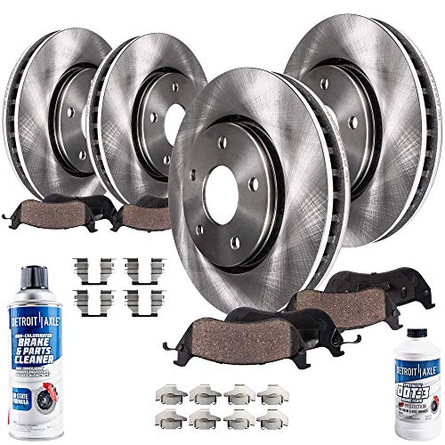 Detroit Axle - All (4) Front and Rear Disc Brake Rotors w/Ceramic Pads w/Hardware Clips and Brake Cleaner & Fluid for 2005 2006 2007 2008 2009 Ford Mustang V6 Only (Will Not Fit GT or Shelby) ()