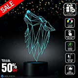 Geometric Howling Wolf Design Lamp, Graphic Design, Decoration lamp, 7 Color Mode, Awesome Gifts (MT234)