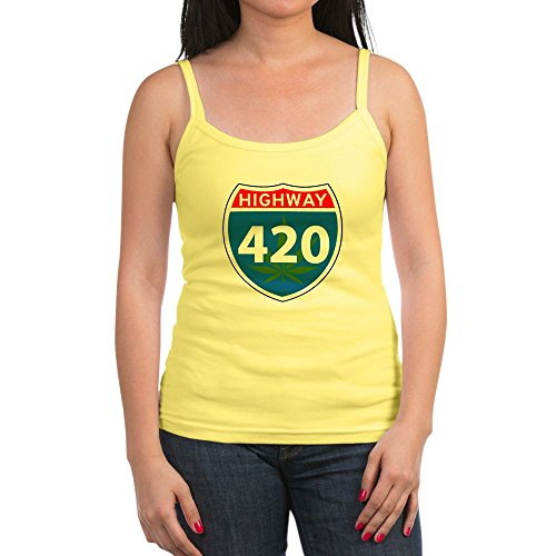Royal Lion Jr. Spaghetti Tank Marijuana Highway 420 Sign - Lemon, Medium