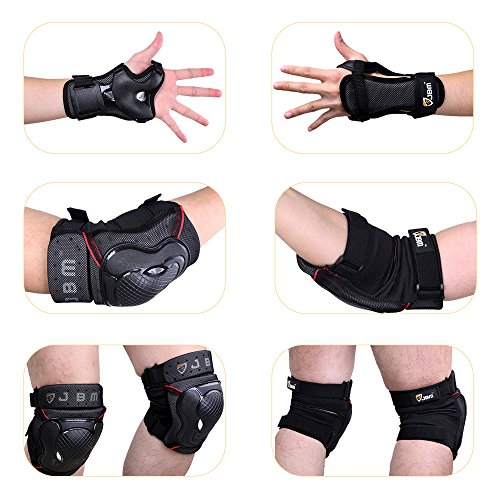 JBM BMX Bike Knee Pads and Elbow Pads with Wrist Guards Protective Gear Set for Biking, Riding