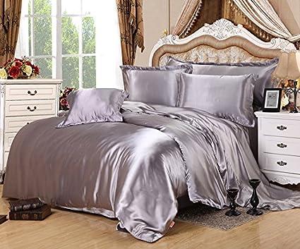 KTLRR Silver Gray Satin Silk Duvet Cover Set Twin Queen King Size 3/4PCS  Soft