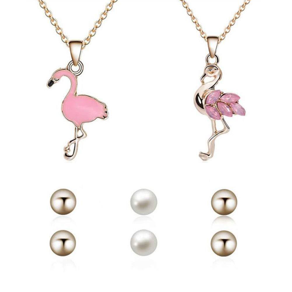 Bnyon Set da donna parure di 2 pezzi rosa fenicottero ciondolo collane e 3 paia di orecchini moda donna partito accessori gioielli set