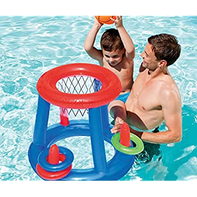 Splash & Play Inflatable Basketball & Ring Toss Pool Play Center and Hand Operated Air Pump: Toys & Games