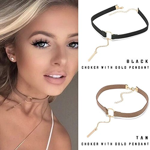 Yean Black and Tan Gothic Lace Choker Necklace, Velvet Clavicle Choker Leather for Women and Girls (Set of Two Black and Tan)