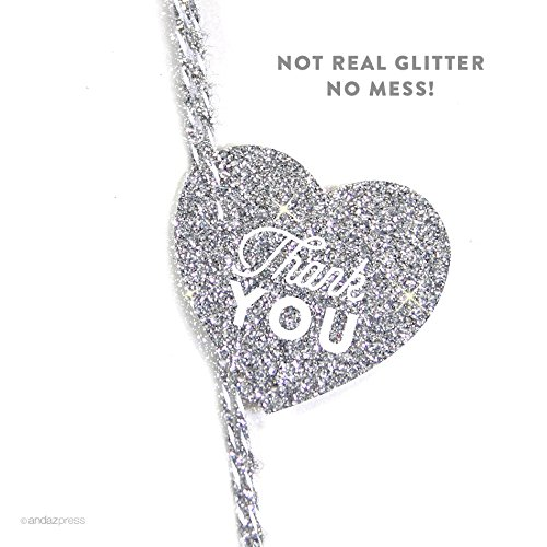 Andaz Press Heart Gift Tags, Chic Style, Thank You, Printed Silver Glitter, 30-Pack (Touch For Health Reference Chart)