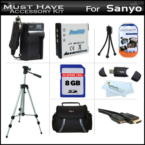 8GB Accessory Kit For Sanyo VPC-GH4 VPC-GH2 High Definition Camcorder Includes 8GB High Speed SD Memory Card + Extended (900Mah) Replacement Sanyo DB-L80 Battery + AC/DC Travel Charger + Deluxe Case + Tripod + Mini HDMI Cable + USB 2.0 SD Reader + More (Card Camera Sanyo Sd Memory)