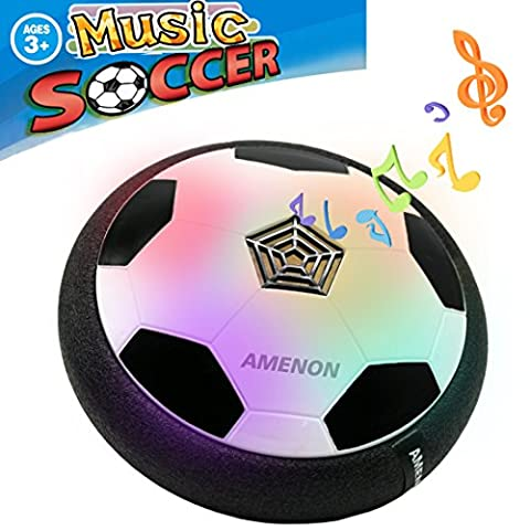 AMENON Air Power Soccer Ball with Music,Kids Sports Football Toys Kids Gifts Boys Girls Air Power Training Ball for Indoor Outdoor Disk Game with Foam Bumpers and LED - Power Air Hockey