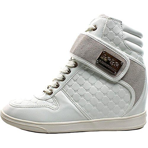 6520d5fbb80 Bebe Womens Colby High Top Lace Up Wedge Sneaker