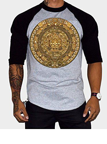 Aztec Calendar Men's Baseball T-Shirt Black/Gray (3XL, Black/Gray) (T-shirts Calendar Print)