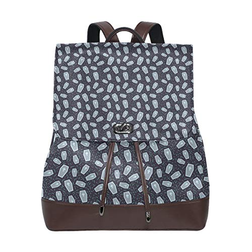 Leather Halloween Pattern With Coffin Backpack Daypack Bag Women ()