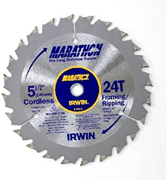 x 10 mm  Carbide  Circular Saw Blade  24 teeth Dia Irwin  Marathon  5-1//2 in