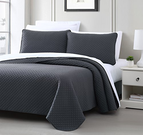 Cozy Beddings Elliott Bedspread Set, Full/Queen, Charcoal Grey