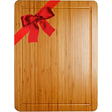 "Best Organic Bamboo Cutting & Chopping Board with Groove, Stunning Double Sided Design Ideal for your Kitchen, ¾ Inch Thick Block 16"" x 12"", Perfect as a Holiday Gift or Serving Tray, by Somarian"