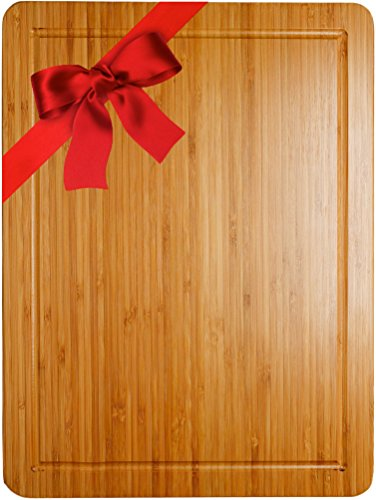 13' Round Plate (Somarian Groove Stunning Double Sided Design Cutting and Chopping Bamboo Board, 13'' x 9'' Medium)