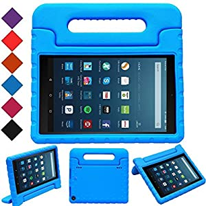 "MENZO Case for All-New Fire HD 8 2017 - Shockproof Convertible Handle Light Weight Protective Stand Cover Kids Case for All-New Kindle Fire HD 8"" 2017 Tablet, BLUE"
