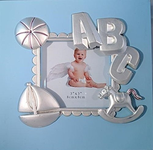 ABC Blue Baby Boy Picture Frame (approx. 5.4 x 5.4) - Holds 3 x 3 Photo - Great Baby Gift For Baby Shower and Baby Registry Elegance