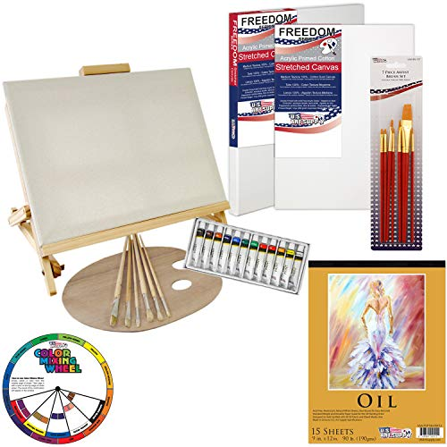 "U.S. Art Supply 35-Piece Oil Painting Table Easel Set with, Oil Paint Colors, 11""x14"" Stretched Canvases, Oil Painting Paper Pad, 16 Artist Brushes, Wooden Palette & Now Includes a Color Mixing Wheel"