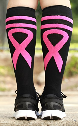 Mojo Compression Socks Special edition Breast Cancer Ribbon - Firm Graduated Medical Compression with moisture Coolmax material Knee High - Black Medium ()