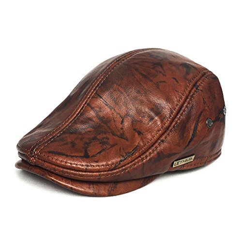 LETHMIK Flat Cap Cabby Hat Genuine Leather Vintage Newsboy Cap Ivy Driving Cap L-Brown and Black