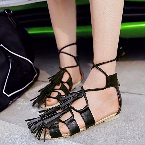 TAOFFEN Mujer Clasico Bohemia Sandalias Cremallera Franja Zapatos De Cordones Negro