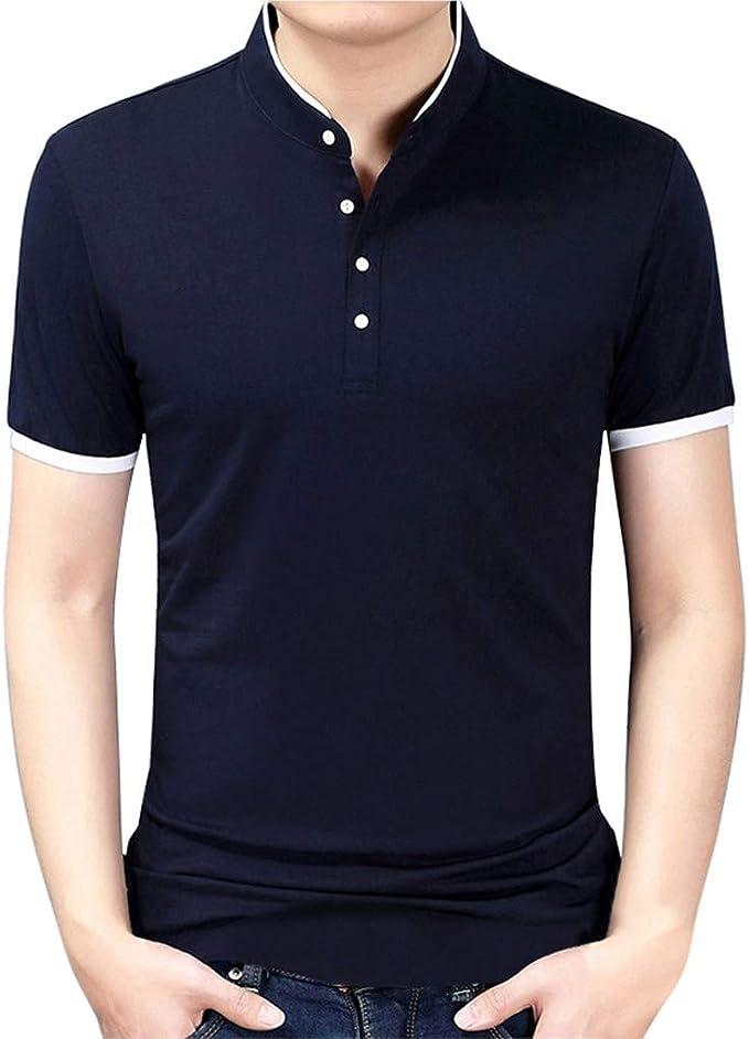 FRAUIT Camisa Delgada de Negocios para Hombre Camiseta con Cuello ...