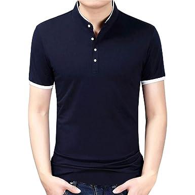 Kinlene Hombre Collar de pie Camiseta de Manga Larga para Hombre ...